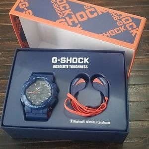 Mens G Shock Analog Digital Blue & Orange Watch